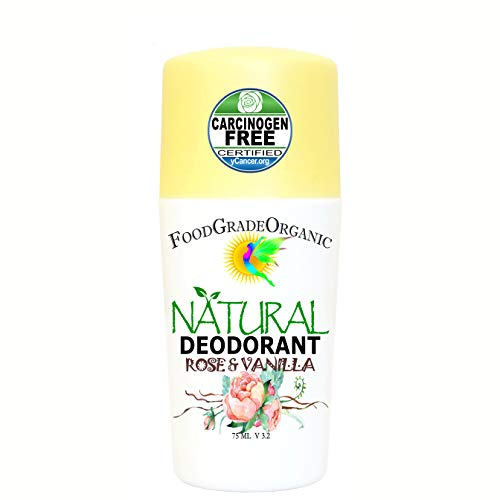 All-natural Organic Healing Detox Deodorant For Men & Women Aluminum-Free Alcohol Free No Toxins Chemicals Paleo FoodGradeOrganic Roll on (Rose and Vanilla)