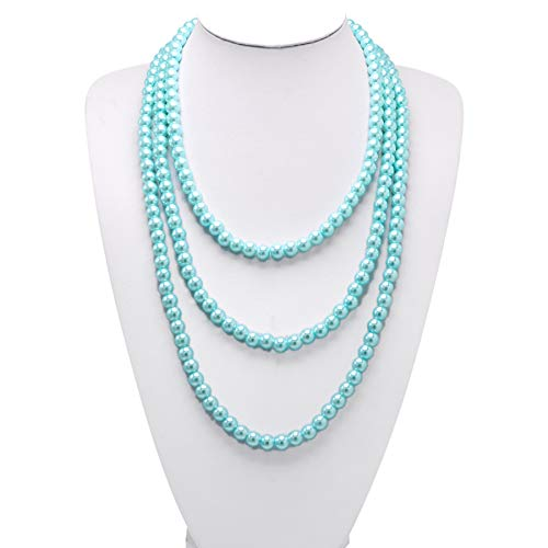 T-Doreen Long Pearl Necklace for Women Girls 69 Inch Layered Strands Necklace (Light Blue)