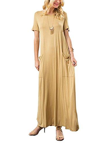 12-ami-basic-short-sleeve-maxi-pocket-dress-yellow-l