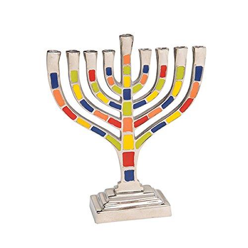 Aluminum Colored Enamel Finish Menorah For All 8 Nights of Chanukah