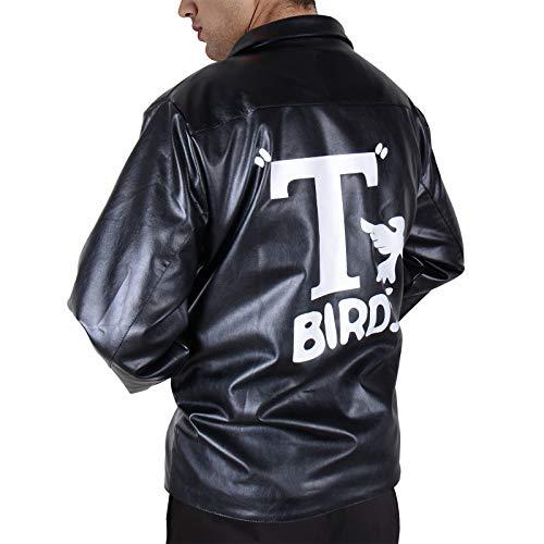 Adult Jacket Men's 50's Black Faux Leather Vintage Rock n' Roll Costumes Off-Center Front Zipper Coat (Black, M) ()