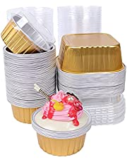 Aluminum Cups for Baking, Disposable Colored Cake Pan with Lid, 80 Pcs 3.35inch and 4.4inch Mousse Black Forest Baking Box