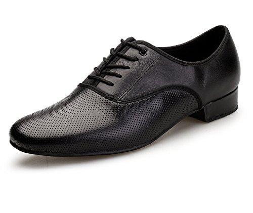 Men Dancing Shoes Waltz Leather Latin Viennese Ballroom Tango Breathable Salsa up Lace NLeahershoe 6aU06q
