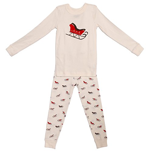 Skylar Luna Baby Boys' Sleighs Organic Pajama Set in Off-White ()