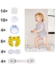 Baby Sicherheits Set, 42 Teile Set für Kindersicherung – 14 x Eckschutz, 14 x Steckdosenschutz, 6 x Finger-Klemmschutz, 4 x Schranksicherung, 4 x Universal -Sicherung