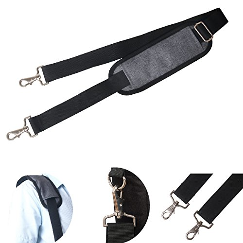JAKAGO 155CM Replacement Shoulder Strap Padded Extra Long Universal Adjustable Bag Strap with Metal Swivel Hooks and Non-Slip Pad for Laptop Case Briefcase Diaper Bag Camera Travel Bag (Grey) ()