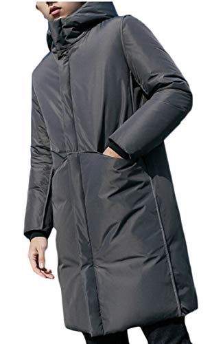 TTYLLMAO Men's Hooded Packable Winter Thickened Long Down Jacket Gery