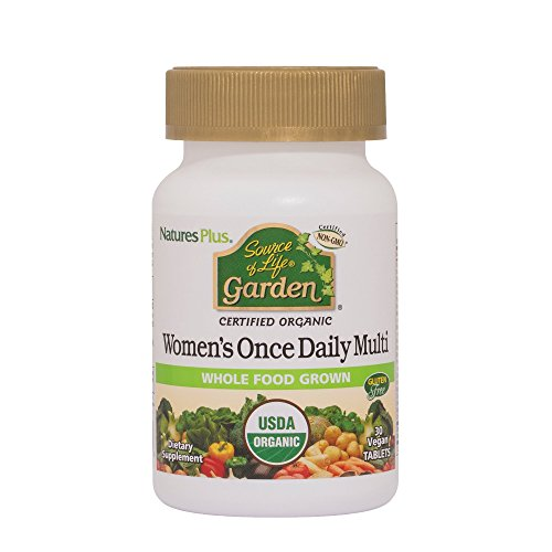 Natures Plus Source of Life Garden Womens Daily - 30 Vegan Tablets - USDA Certified Organic Whole Food Multivitamin & Mineral Supplement - Vegetarian, Gluten Free - 30 Servings
