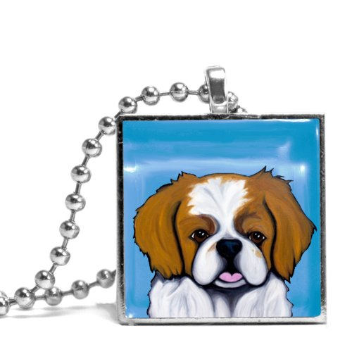 Pekingese in Blue Necklace (Pekingese Jewelry)