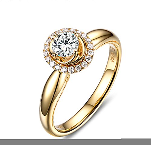 Gnzoe Rose Gold Women Wedding Rings Solitaire Promise Rings Crown Flowers Yellow with White Blue 1ct Diamond Size 6.5