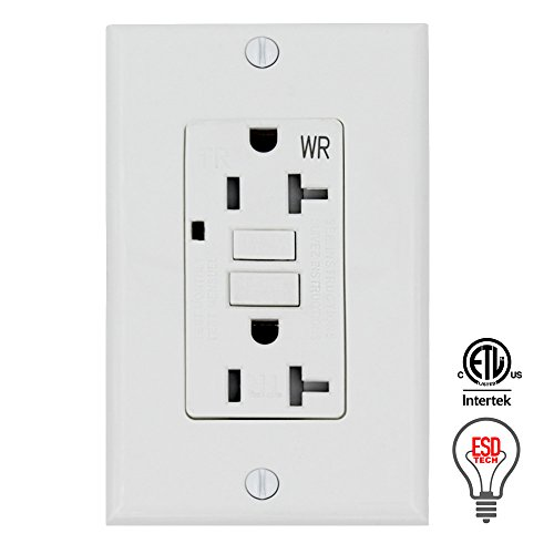 GFCI Wall Outlet Receptacle – 20 Amp, 125 Volt Tamper Resistant and Weather Resistant Duplex with LED Indicator Light. UL Listed and Comes with Wall plate and Screws (Single)