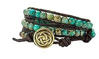 Celtic Knot Bracelet Leather Turquoise-Jasper Beaded Wrap