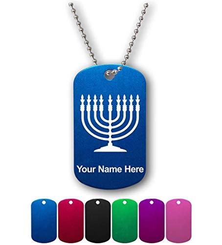 Military Style ID Tag, Menorah, Personalized Engraving - Laser Menorah
