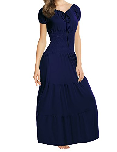 (Meaneor Women Boho Cap Sleeve Smocked Waist Tiered Renaissance Summer Maxi Dress (XL, Navy Blue))