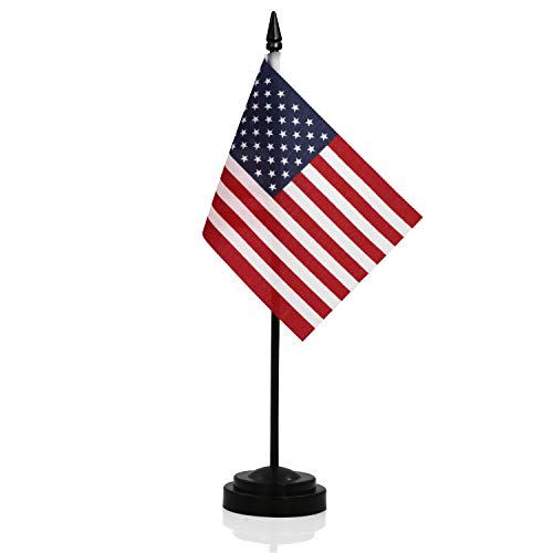 Anley USA Deluxe Desk Flag Set - 6 x 4 inches Miniature American US Desktop Flag with 12