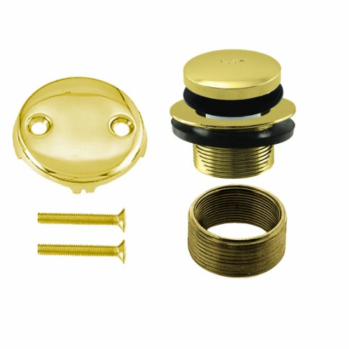 Westbrass Universal Fine or Coarse Thread Replacement Tip-Toe Strainer Drain with 2-Hole Faceplate, Polished Brass, D93K-01
