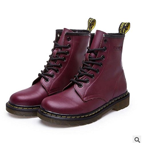 Ankle PU Heel Boots Toe ZHZNVX for Black Wine Boots Brown Comfort Fall Gray Casual Chunky Shoes Red HSXZ Women's White Round Winter Booties q44ztOf