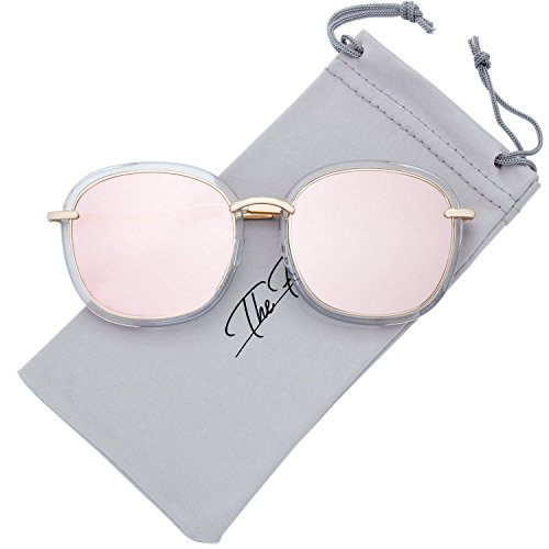 The Fresh Fashion Metal Temples Iridescent Mirror Flat Lens Square Sunglasses with Gift Box (1-Crystal-Gold, Pink - Iridescent Sunglasses