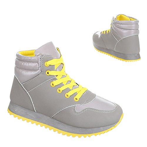 Ital-Design - Zapatillas de Material Sintético para mujer Amarillo - Gelb Grau