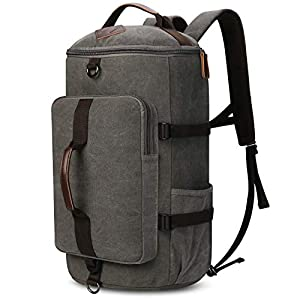 Carry on Backpacks, Yousu Mens Vintage Travel Backpack Rucksack Outdoor Traveling Duffle Backpack Bag Classic Travel Multi Functional Bags 3-In-1 Grey