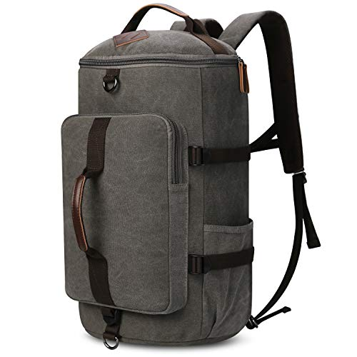 (Carry on Backpacks, Yousu Mens Vintage Travel Backpack Rucksack Outdoor Traveling Duffle Backpack Bag Classic Travel Multi Functional Bags 3-In-1 Grey)