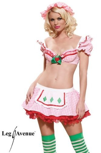 Leg Avenue Women's Strawberry Tart Costume, Pink/White, X-Small - Sexiest Costumes Ever