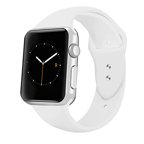 Price comparison product image iGK Sport Band Compatible for Apple Watch 38mm, Soft Silicone Sport Strap Replacement Bands Compatible for iWatch Apple Watch Series 3, Series 2, Series 1 38mm White Small