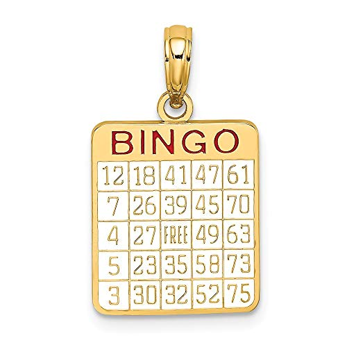 14K Yellow Gold with Enamel Bingo Card Charm Necklace Pendant with 18