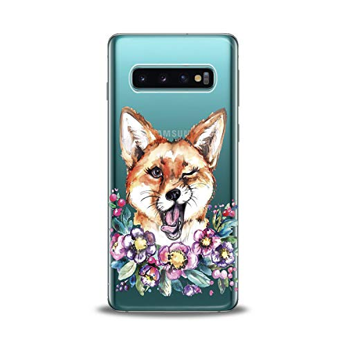 Lex Altern Samsung Galaxy TPU Case s10 Plus 10e Note 9 s9 s8 s7 Edge New Cute Funny Fox Clear Silicone Animal Floral Cover Flower Print Protective Lightweight Wink Girls Women Soft Transparent Trend ()