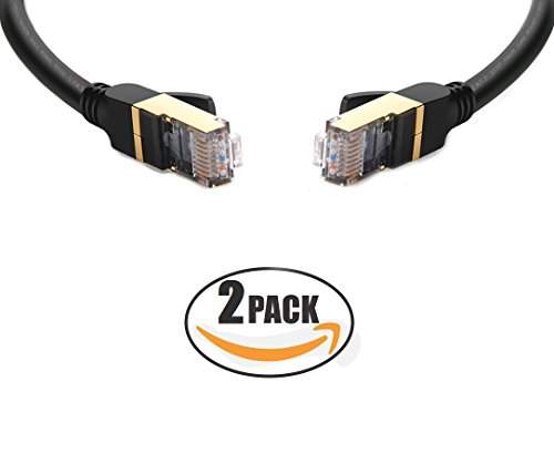 Network Cable Cat7 Gold RJ45 4.26 Meters Internet Cable UTP Cable Black Ibex Cables Pack of 2 Ethernet Cable 14 Feet Round