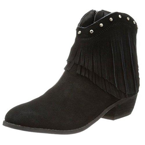 Bandera Black Boots - Minnetonka Women's Bandera Boot (6, Black)