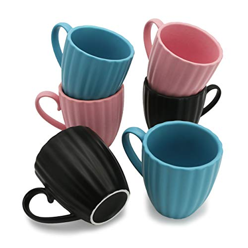 Sumerflos 8 Ounce Porcelain Mugs - Elegant New Petal Stripe Coffee Mugs - Matte Ceramic Mug Set for Coffee, Tea, Cocoa - 3 Colors - Set of 6