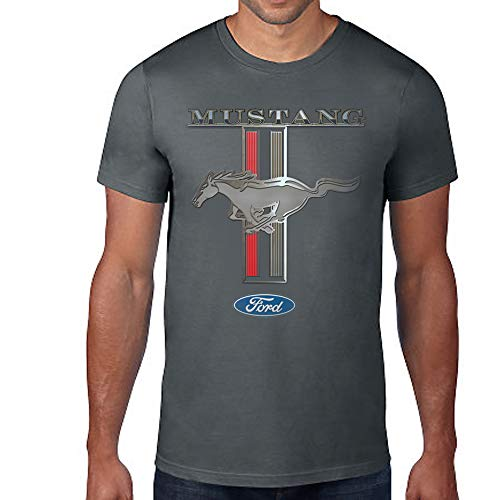 Licensed Ford Mustang Racing Stripes Short Sleeve T-Shirt GT Shelby Pony 2X Grey