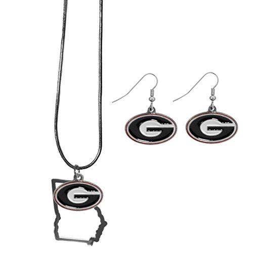 Siskiyou NCAA Georgia Bulldogs Dangle Earrings & State Necklace Set ()