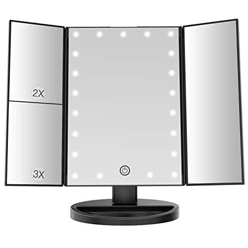 BESTOPE Makeup Vanity Mirror with Lights, 2X/3X Magnification, 21 Led Lighted Mirror with Touch Screen,Portable Trifold Mirror,Dual Power Supply