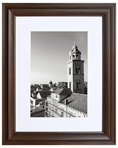 12x16 Raised Brown Frame - White Mat for 8x12 Pictures - Traditional High Rise Molding - Wood Grain Finish - Wall Mounting - Portrait/Landscape - Tempered Glass
