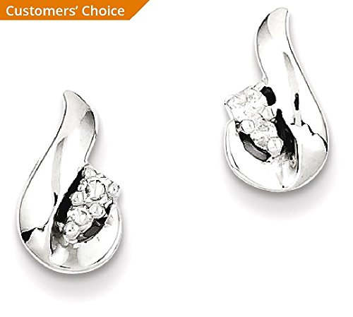 ICE CARATS 925 Sterling Silver Diamond Teardrop Post Stud Ball Button Earrings Fine Jewelry Gift Set For Women Heart by ICE CARATS (Image #3)