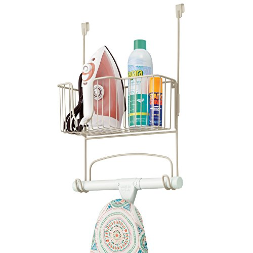 mDesign Ironing Board Holder with Large Storage Basket: Wall