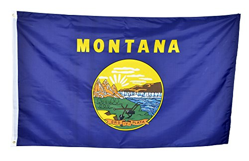 Shop72 US Montana State Flags - Montana Flag - 3x5' Flag From Sturdy 100D Polyester - Canvas Header Brass Grommets Double Stitched From Wind Side