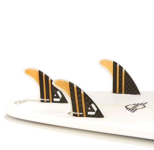 Dorsal Surfboard Fins Carbon Bamboo Thruster Set (3) Honeycomb FCS Base by Dorsal