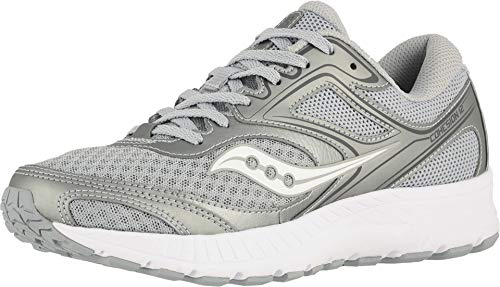 Saucony Women's VERSAFOAM Cohesion 12 Road Running Shoe, Grey/Silver, 6 M US