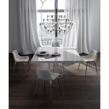 Clarges Dining Table In White Lacquer on Stainless