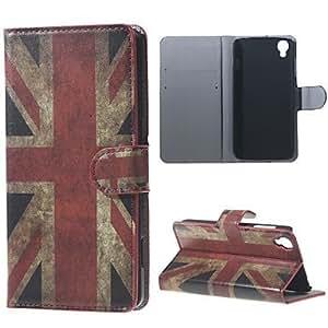 Bandera del Reino Unido de la PU de la carpeta del cuero de la vendimia para alcatel ídolo OneTouch 3 (4.7)