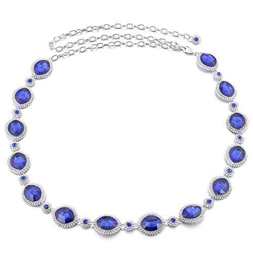 Jili Online Women Ladies Bling Metal Chain Hip Waist Belt Rhinestone Circle for Party Dress Accessories - Blue, 110cm