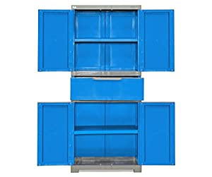 Nilkamal Freedom FMDR 1C Plastic Storage Cabinet with 1 Drawer (Deep Blue & Grey)