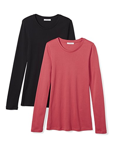 Amazon Brand - Daily Ritual Women's Midweight 100% Supima Cotton Rib Knit Long-Sleeve Crew Neck T-Shirt, 2-Pack, Black/Cardinal Red, Medium