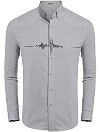 ef23d0dc88b117 Men s Fashion Button Up Shirt Slim Fit Contrast Long Sleeve Casual Button  Down Shirts
