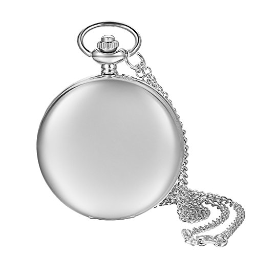 Lancardo Smooth Metal Silver Case White Dial Arabic Numbers Modern Pocket Watch with ()