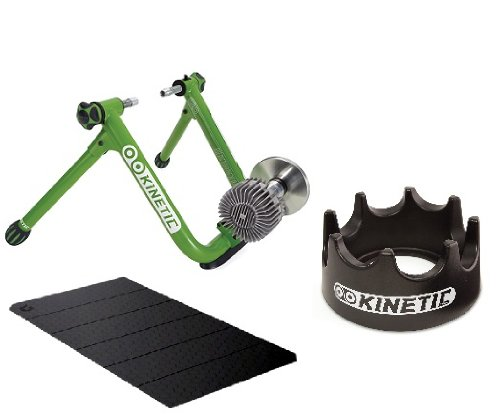 Kinetic Fluid Road Machine Indoor Bicycle Trainer Kit with Blackburn Deluxe Floor Mat & Kinetic Riser Ring All You Need To Trainer Indoor