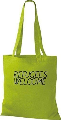 ShirtInStyle Bolso de mano Bolsa de algodón Refugiados welcome, refugiados, Mantente a la derecha, murió. Colores - fucsia kiwi